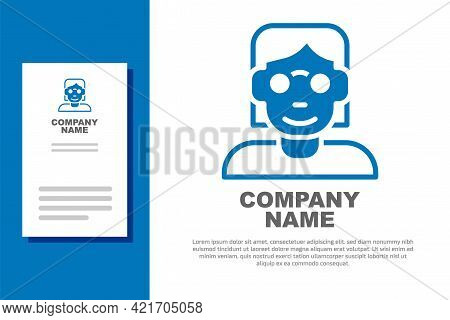 Blue Hacker Or Coder Icon Isolated On White Background. Programmer Developer Working On Code, Coding