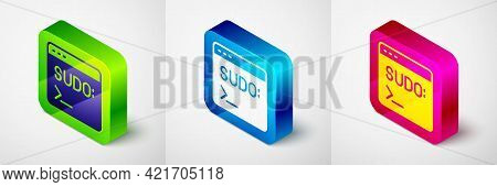 Isometric Code Terminal Icon Isolated On Grey Background. Browser Window With Command Line. Command