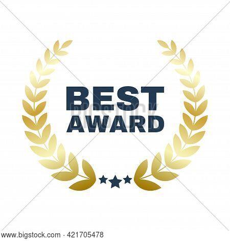 Best Seller Award Brand Premium Gold Laurel Wreath Badge Logo Design Three Star Vector Illustration