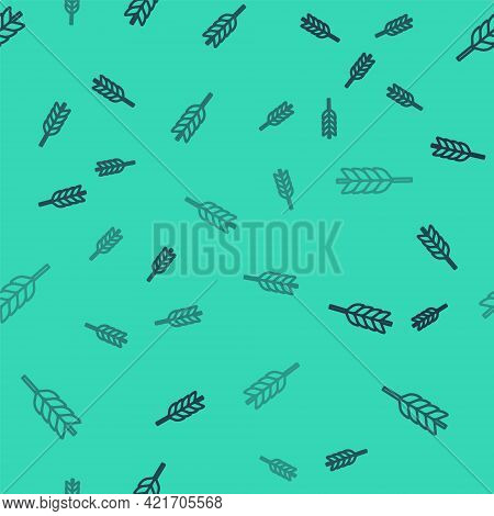 Black Line Cereals Set With Rice, Wheat, Corn, Oats, Rye, Barley Icon Isolated Seamless Pattern On G