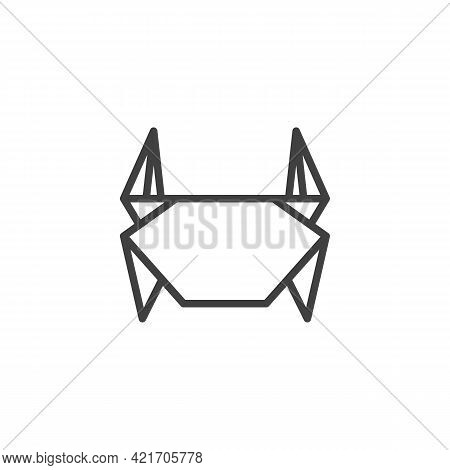 Crab Origami Line Icon. Linear Style Sign For Mobile Concept And Web Design. Paper Crab Outline Vect