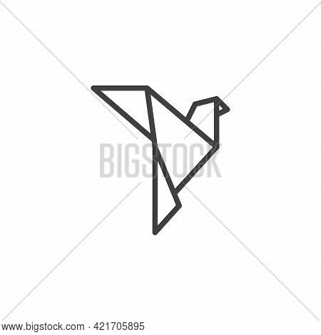 Dove Origami Line Icon. Linear Style Sign For Mobile Concept And Web Design. Paper Dove Bird Outline