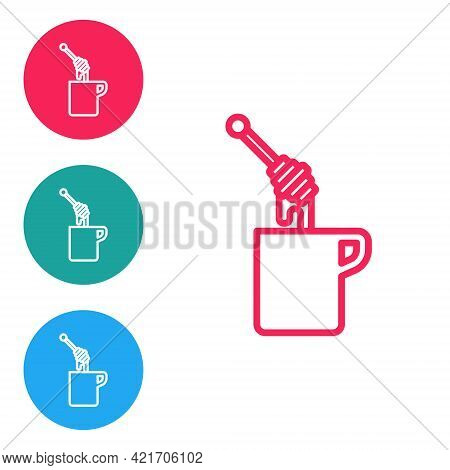 Red Line Honey Dipper Stick With Dripping Honey Icon Isolated On White Background. Honey Ladle. Set