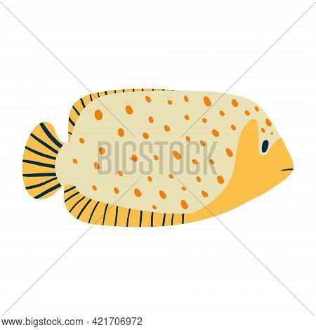 Vector Isolated Illustration On White Background. Cartoon Yellow Fish With Dots Or Specks. Striped T
