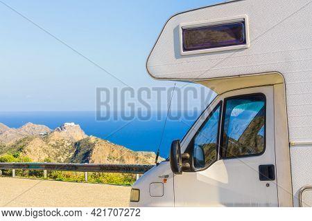 Camper Rv On Viewpoint Mirador De La Granatilla Carboneras In Cabo De Gata Natural Park, Provincia A