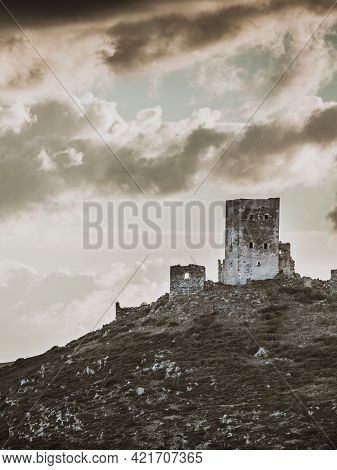 Greece Mani Peninsula. Traditional Style Stone Tower House On Hill Against Sky. Laconia Peloponnese,