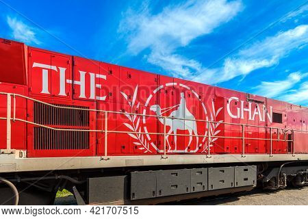 Adelaide Parklands Terminal, South Australia - August 4, 2019: The Ghan Train Ready To Depart For It