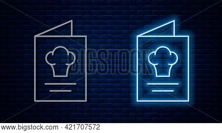 Glowing Neon Line Cookbook Icon Isolated On Brick Wall Background. Cooking Book Icon. Recipe Book. F