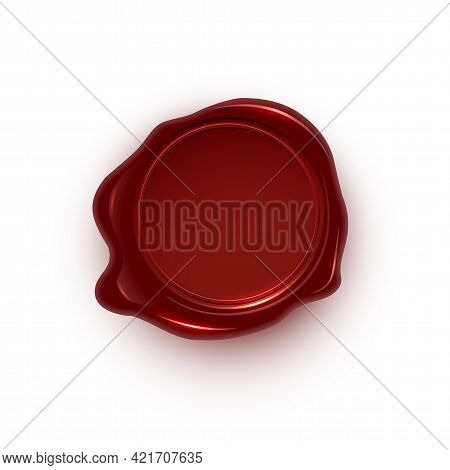 Red Wax Seal Isolated On White Background. Vintage Postage Stamp. Vector Design Element.