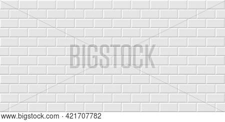 White Metro Tiles Seamless Background. Subway Brick Horizontal Pattern For Kitchen, Bathroom Or Outd