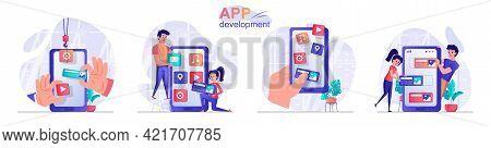 App Development Concept Scenes Set. Developers Create Mobile Application, Arrange Interface Buttons,