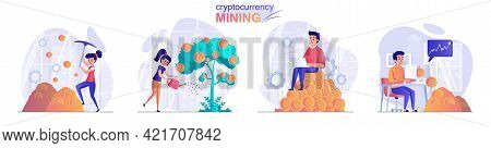Cryptocurrency Mining Concept Scenes Set. Woman And Man Mine Coins, Invest In Digital Money, Increas