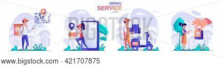 Delivery Service Concept Scenes Set. Courier Delivers Order To Home, Application For Online Tracking
