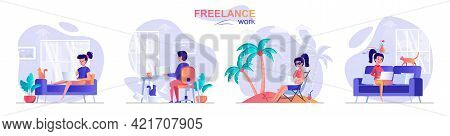 Freelance Work Concept Scenes Set. Woman Working Sitting On Sofa Or Relaxing At Resort, Man Working