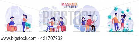 Masked People Concept Scenes Set. Men And Women Wear Protective Masks In Public Places, Cafes, Airpo