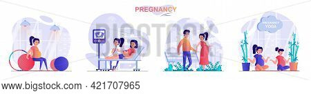 Pregnancy Concept Scenes Set. Pregnant Woman Exercising With Ball Or Does Yoga, Walks In Park, Ultra