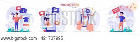 Promotion Concept Scenes Set. Marketer Attracts New Customers With Bonuses, Discounts, Big Sale And