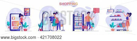 Shopping Concept Scenes Set. Woman Buys Clothes Online Or In Store, Man Buys Cosmetics On Supermarke
