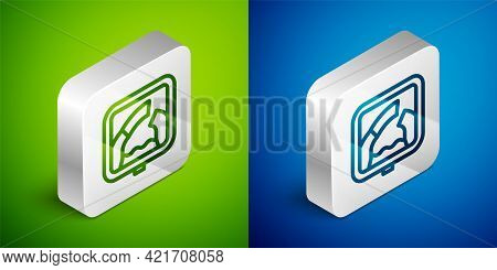 Isometric Line Drawbridge Ahead Icon Isolated On Green And Blue Background. Information Road Sign. S