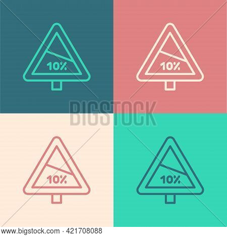 Pop Art Line Steep Ascent And Steep Descent Warning Road Icon Isolated On Color Background. Traffic