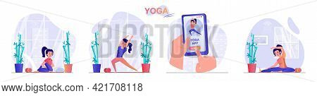 Yoga Concept Scenes Set. Woman Doing Asanas, Using Mobile App For Training, Exercising At Home Or In