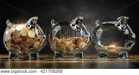 Glass piggy bank with decreasing piles of coins. Saving inflation, financial crisis and loosing money concept. 3d illustration