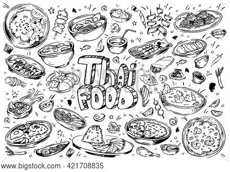 Hand Drawn Vector Illustration. Doodle Thai Food: Shrimp, Tofu, Seaweed, Rice, Tom Yam Kung, Seafood