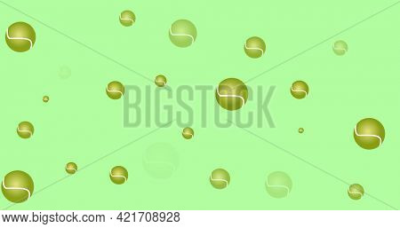 Composition of multiple tennis balls over green background. sport event and competition concept digitally generated image.