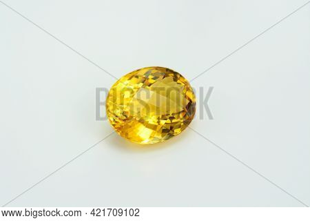 Natural Yellow Brazilian Citrine Quartz Oval Checker Faceted Gemstone. Unheated, Clean, Transparent,