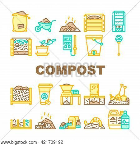 Compost Production Collection Icons Set Vector. Worms In Compost And Potted Plant, Industrial And Ho