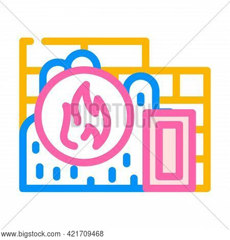Flame Proof Building Material Color Icon Vector. Flame Proof Building Material Sign. Isolated Symbol