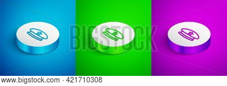 Isometric Line Military Beret Icon Isolated On Blue, Green And Purple Background. Soldiers Cap. Army
