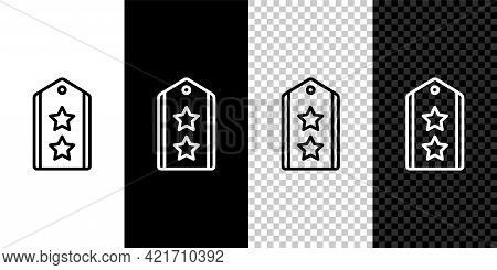 Set Line Military Rank Icon Isolated On Black And White, Transparent Background. Military Badge Sign