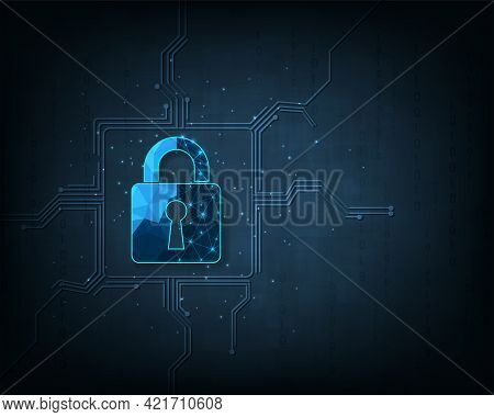 Data Prevent And Security Concept.visualization Of Cyber Security With Padlock  Lock On Dark Blue Ba