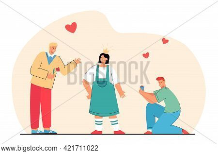 Two Men Courting Woman Vector Illustration. Male Characters Offering Flowers And Jewelry To Female.