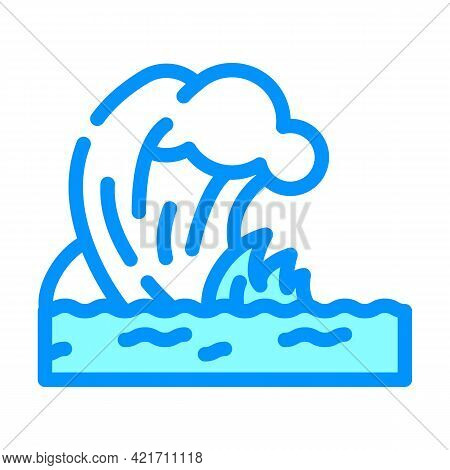 Tsunami Disaster Color Icon Vector. Tsunami Disaster Sign. Isolated Symbol Illustration