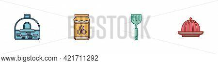 Set Brick Stove, Jar Of Honey, Spatula And Pudding Custard Icon. Vector