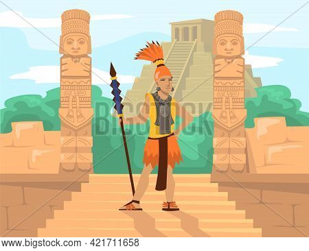Ancient Mayan Warrior With Spear In Front Of Idols And Pyramid. Male Cartoon Character Wearing Tradi