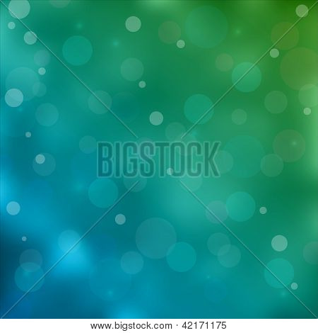 emerald green bokeh light background. Vector illustration poster