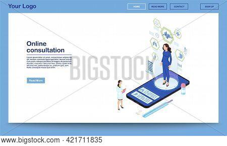 Online Consultation Service Isometric Landing Page Template. Remote Internal Organs Diagnostics. 3d