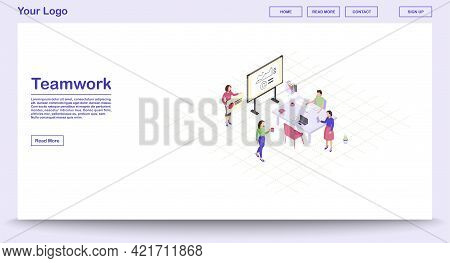 Teamwork Webpage Vector Template With Isometric Illustration. Corporate Meeting. Marketing Research.