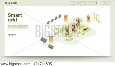 Eco Power Webpage Vector Template With Isometric Illustration. Smart Grid. Solar, Wind Electricity.