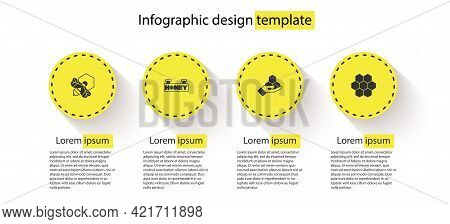 Set Bee And Honeycomb, Hanging Sign With, Honeycomb Hand And . Business Infographic Template. Vector