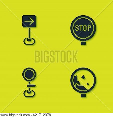 Set Traffic Sign Turn Right, Road Warning Rockfall, Traffic And Stop Icon. Vector
