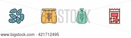 Set Seed, Bag Of Flour, And Pack Full Seeds Plant Icon. Vector