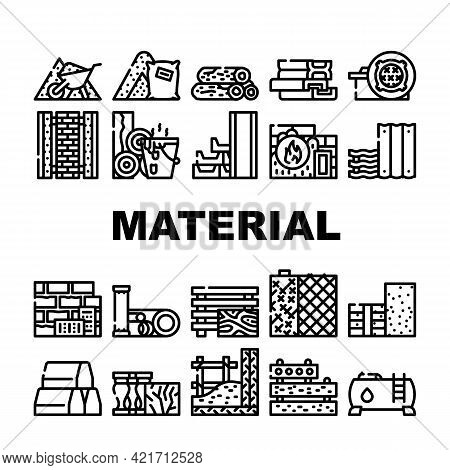 Building Material Collection Icons Set Vector. Metallic Armature Grid And Styrofoam, Bitumen And Con