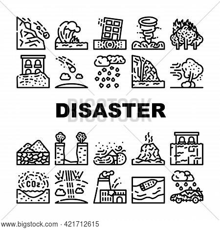Disaster Destruction Collection Icons Set Vector. Freezing Rain And Heavy Rainfall, Sandstorm And Hu