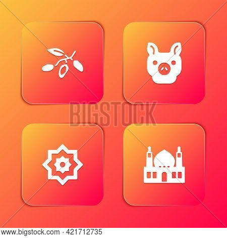 Set Date Fruit, Pig, Octagonal Star And Muslim Mosque Icon. Vector