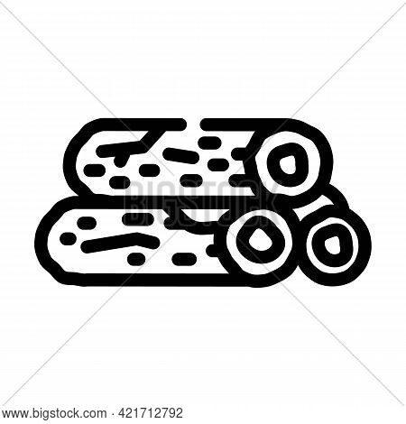 Wooden Bar Building Material Line Icon Vector. Wooden Bar Building Material Sign. Isolated Contour S
