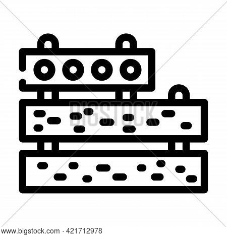 Concrete Plates Building Material Line Icon Vector. Concrete Plates Building Material Sign. Isolated